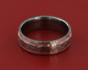 Titanium 7MM Domed Style 2 Groove With Copper Band With Hammered Finish (Copper Inlay)