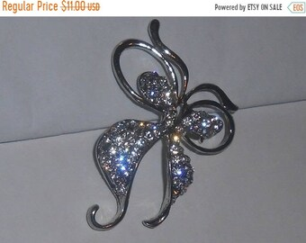 "SAVE 75% Vintage Silver Tone Open Work Clear Rhinestone Figural ""Butterfly"" Brooch"