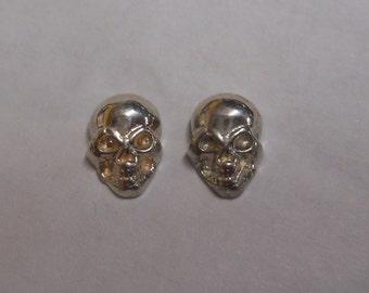 Mini Skull Studs in Sterling Silver or Gold