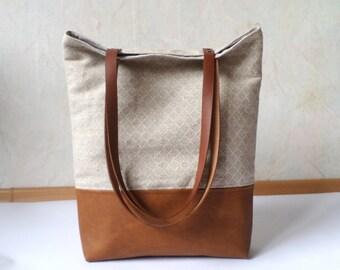 Leather and linen tote bag, Geometric print tote bag, Large tote with real leather handles