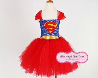 Superhero Dress. Super Girl Tutu. Superman Kids Dress. Handmade Super Hero. Fancy Dress for Girls. Supergirl Tutu. Costume. World Book Day