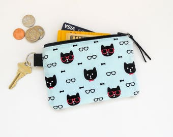 Cat Lover Gift, Mini Wallet, Earbuds Phone Cord Pouch, Essential Oils Case, Credt Card Wallet, Keychain Wallet
