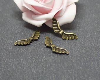 10 beads spacer PMB34 bronze metal wings