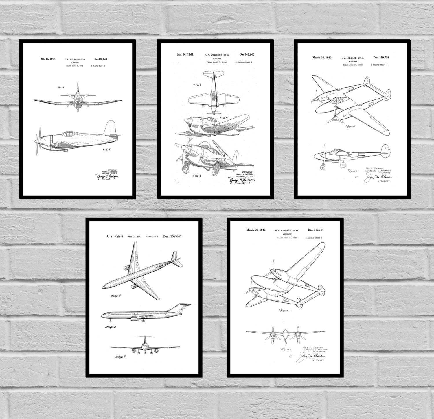 Airplane patent set of 5 aircraft poster airplane art aviation airplane patent set of 5 aircraft poster airplane art aviation decor airplane wall art airplane blueprint aviation giftspilot malvernweather Gallery