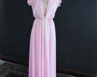 1970's Vintage Prom Dress Pink, Disco Maxi Formal Evening Gown, Lace & Polyester, Layered Bodice, Flutter Sleeves, Wide Sweep Skirt, Bust 32