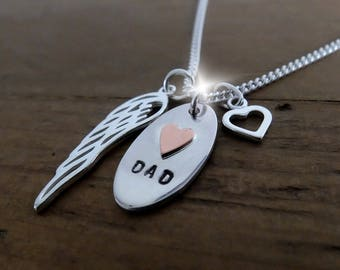 Sterling Silver Memorial Necklace, Silver and Copper Memorial Gift Idea, Remembrance Jewellery, Sympathy Gift, Loss of Dad, Loss of Father