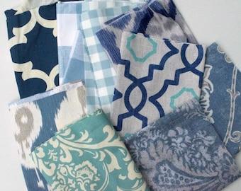 Blue Fabric Scraps Bundle, Fynn, Buffalo Check, Plaid, Delhi Yacht, Leverett Denim, Talbot Harbor, Hamilton, Java, Ozbourne, Home Decor