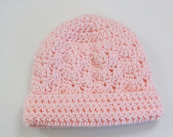 Crochet Infant Hat Pink Beanie Hat with Rolled Brim Suitable 3-6 Months - Ready to Ship - Direct Checkout