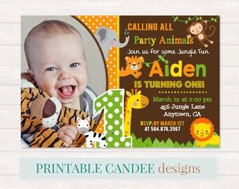 Jungle Birthday Invitation, Jungle Baby Animal Invite, Jungle Party Safari Birthday, Jungle 1st Birthday Invitation, Neutral Jungle Birthday