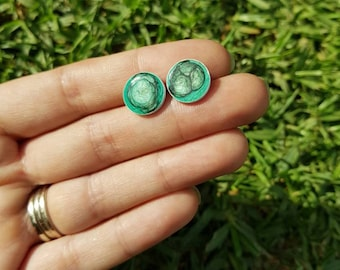 Mermaid dragon scale hand painted stud earrings in shades of green. Surgical stainless steel posts