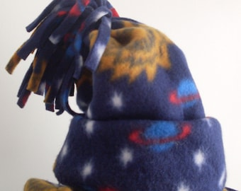 Children's  Fleece Hat and Scarf Set in Navy Blue with Celestial Outer Space design