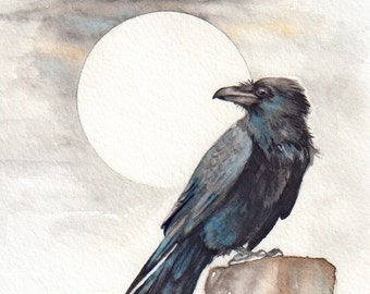 Raven and the Moon - Print of Original Watercolor