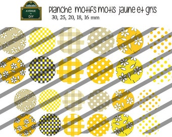 Collage sheet digital pattern dots, squares, yellow and gray flowers for creating 30 mm to 16 mm cabochons