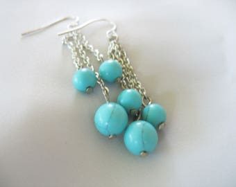Dangle Earrings Robins Egg Blue Silver Chains Faux Turquoise Lightweight Pierced Wires