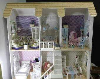 Wooden Dollhouse/Barbie Doll house/Dollhouse Furniture/Living Room Furniture/Sofa For Dolls/12''Dolls Furniture/Living Room Set/Upholstered