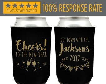 New Years Party Favor Can Coolers, Cheers To The New Year, Party Favor Beer Can Cooler for New Years Party, New Years Eve Party Favors (120)