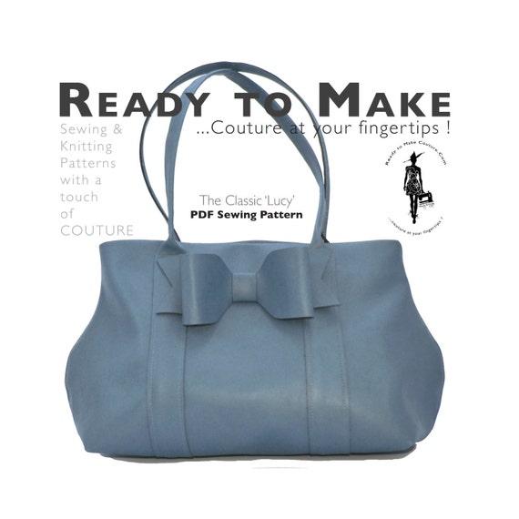 PDF Sewing Pattern - HandBag Purse Tote Shopper Bag Faux Leather ...