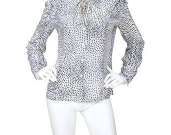 Louis Féraud 1970s Vintage Cream Polka-Dot Silk Ascot Blouse