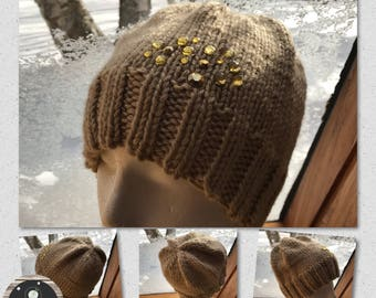 Hand Knit Hand Crafted Tan Ponytail Winter Hat with Gold Jewels Ladies Accessory Warm and Soft