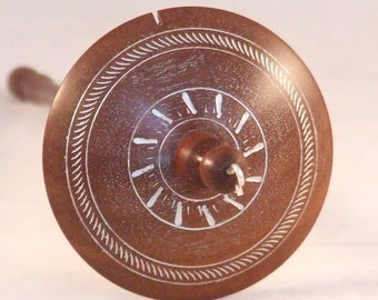 """Drop spindle in reclaimed mahogany whorl and shaft shaft 10"""" long 1.14 oz / 32 g"""