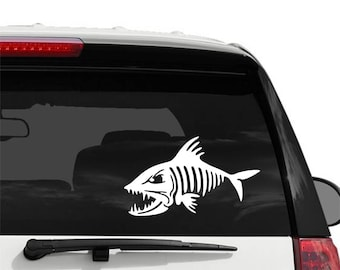 Fish Skeleton Decal - Vinyl Decal for your Car, Window, Laptop - Window Cling Decal - Vehicle Decal - Vinyl Window Decal
