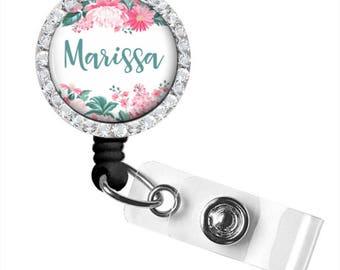 Nurse Retractable Badge Reel, Pink Floral Badge Reel,  Personalized Badge Reel, ID Badge Reel (779)