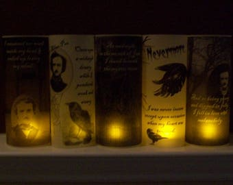 Halloween Vellum Luminarie Collection - Edgar Allan Poe - Nevermore Raven - Literary Quotes - Lantern - Luminary - Luminaria (5)