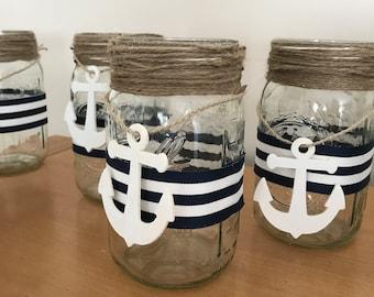 6 Nautical Striped Mason Jar with Anchor