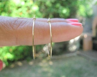 SALE - gold hoop earrings - gold filled earring - simple hoop earrings - thin delicate earrings - dainty hoop jewelry - Gold earrings