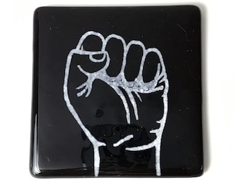 Resist Coaster, Revolution Coaster, Hand Fist Fused Glass Drinks Mat, Solidarity Icon, Kiln Fired Coaster