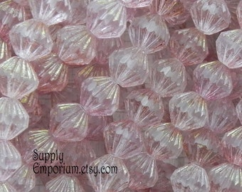 9mm Matte Luster Transparent Topaz/Pink Fluted Beads - 25 Beads - 1940 - Topaz Pink Fluted Round Beads