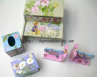 four piece fairy gift set,step stool,tissue box cover,bookends,jewelry box,fairy gift set,girls gift set,fairy step stool,storage bench
