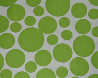 Lime fabric large POLKA DOTS fabric by the yard summer fabric quilt fabric cotton Windham Fabrics Foliage Green on white dots fabric