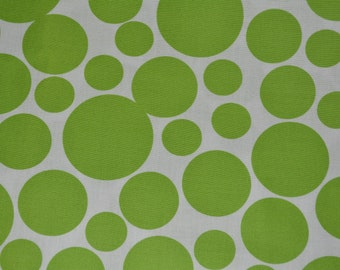 Green Lime POLKA DOT fabric by the yard Windham Fabrics Foliage Green on white dots bubbles cotton summer quilt fabric