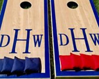 Monogram Cornhole Board Set with Bags for Your Wedding Reception -  Customized Yard Game Backyard Rustic Party Fun
