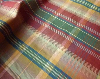 Plaid cotton and satin double-sided * 0.62 x 1.20 m *.