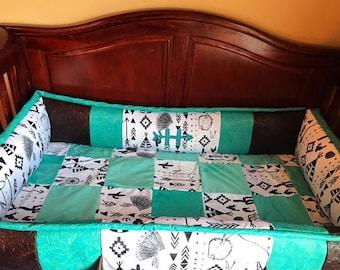 custom boho tribal livestock brand crib set