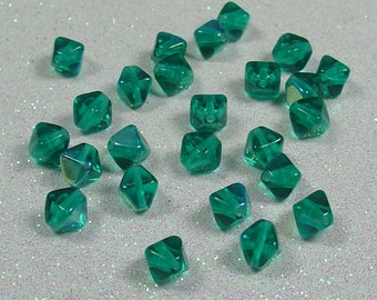 PYRAMID BEAD DOUBLE 6MM EMERALD AB CZECH GLASS