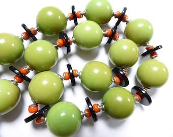 JAKOB BENGEL necklace, art deco, green galalith and chrome