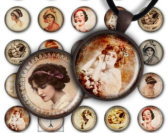 75% OFF SALE Digital Collage Sheet Oh Vintage 1inch Round 30mm 25mm Circle Pendant Printable Download PC034 Instant Download Jewelry Making