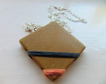 Square necklace - wooden necklace - reclaimed wood - wood necklace - handmade jewelry - vintage upcycled - solid silver - vintage cotton