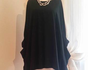 "Plus Size Oversized 62"" Bust  unic Top 16 18 20 22 24 26 28 30 32 LAGENLOOK Italian Stretch Cotton, Women's Tunic, Top, Black  9452"