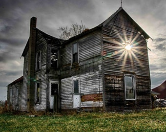 Fine art photography, Urban Decay, Abandoned House, Wall Decor, Home Decor, Abandoned, Fine art print, Farm House, Sunburst, Light Rays