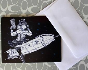 Steampunk Pin Up Girl Greeting Card Blank