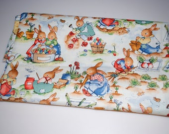 "The Easter Garden by Alexander Henry Bunny Rabbit Fabric 1995 44"" x 33"""