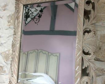 Vintage antique carved wooden mirror