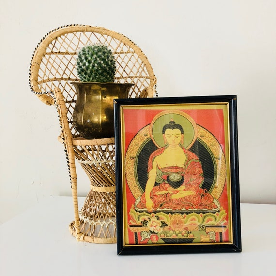 Vintage Orange Silk Buddha Framed Picture Black and Gold Framed Green Silk Fabric Green Floral Buddha Wall Art Buddhism Wall Art