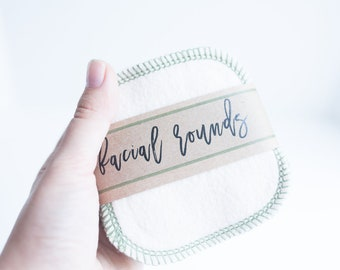 """Organic  French Terry Rounds + Organic Cotton Thread - Make-up Remover  Facial Rounds - 4"""" Face Wipes Choose your quantity - AVOCADO THREAD"""
