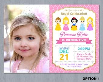 Disney Princess Birthday Invitation, Disney Princess Invitation, Princess Invitation, girls Birthday Invitation- Digital file
