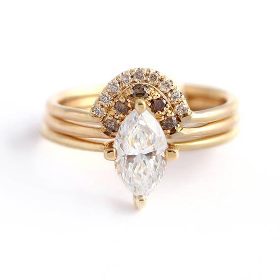 Brand-new Marquise Wedding Set One Carat Diamond Set Champagne Diamond TH09